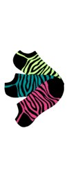 Bright Zebra No-Shows Socks 3-Pair Pack