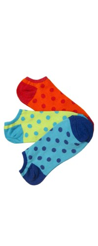 Bright Polka Dots No-Shows Socks 3-Pair Pack