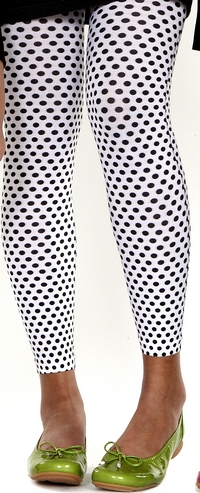 Printed Polka Dot Footless Tights-Large/Tall