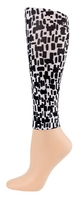Black&White Squares Footless Tights-Large/Tall
