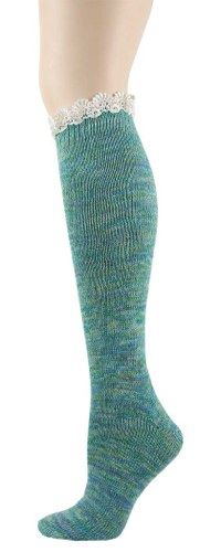 Lace Twisted Yarn Knee High