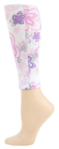floral doodle Footless Tights-Large Tall