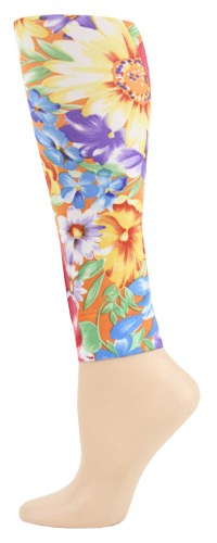 orange tahiti Footless Tights-Large/Tall