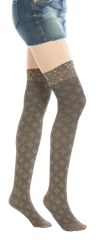 Woven Faux Thigh High Tights