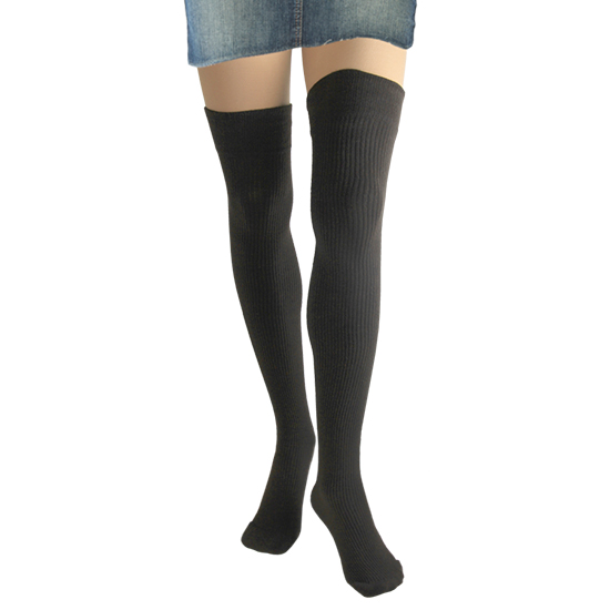 Cotton Rib Thigh High