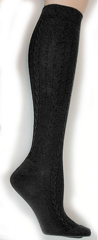 Textured Cable Knit Knee Socks