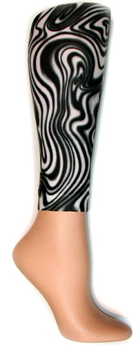 Black/White Swirl Footless Tights