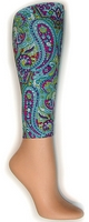Turqoise Paisley Footless Tights
