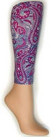 Purple Paisley Footless Tights