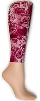 Burgundy Roses Footless Tights