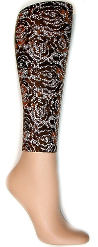 Floral Lace Brown Footless Tights Large Tall Large Tall