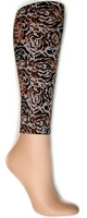 Floral Lace Brown Footless Tights-Large/Tall