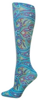 Turquoise Paisley Tights-Large/Tall