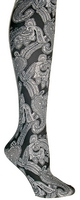 Black Paisley Tights-Large/Tall