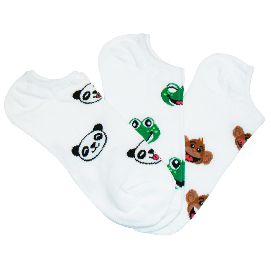Panda Monkey Frog No-Shows Socks 3-Pair Pack