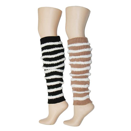 Fuzzy Stripe Leg Warmers