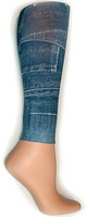 Denim Pockets Footless Tights-Large/Tall