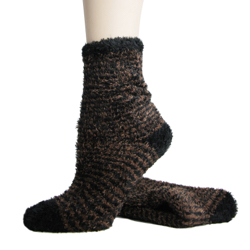 Foot Traffic Microfiber Fuzzy Socks Black & Brown