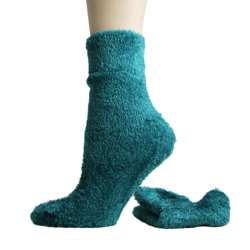 Foot Traffic Microfiber Fuzzy Socks Emerald