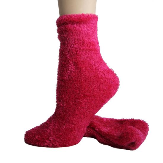 Foot Traffic Microfiber Fuzzy Socks Fuscia