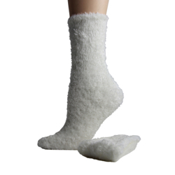 Foot Traffic Microfiber Fuzzy Socks Ivory