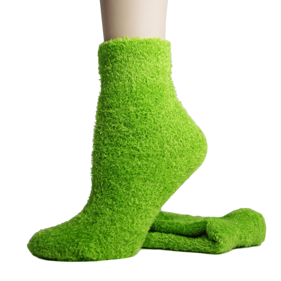 Foot Traffic Microfiber Fuzzy Socks Lime