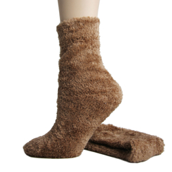 Foot Traffic Microfiber Fuzzy Socks Mocha