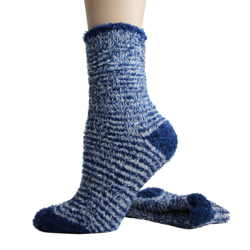 Foot Traffic Microfiber Fuzzy Socks Navy and White