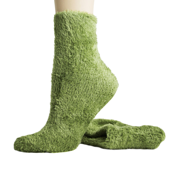 Foot Traffic Microfiber Fuzzy Socks Olive