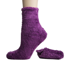Foot Traffic Microfiber Fuzzy Socks Purple