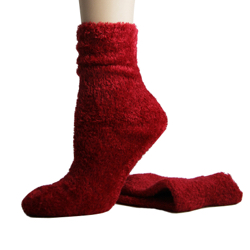 Foot Traffic Microfiber Fuzzy Socks Red