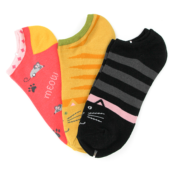 Kitty No Show Socks 3-Pair Pack