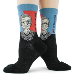 womens Ruth Bader Ginsburg RBG socks both sides view on mannequin