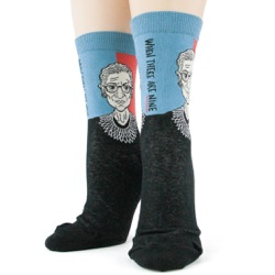 womens Ruth Bader Ginsburg RBG socks front view on mannequin