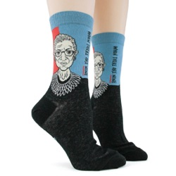 womens Ruth Bader Ginsburg RBG socks sidefront view on mannequin