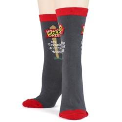 women's realtor SOLD socks front view on mannequin