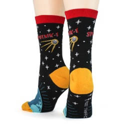 women's sputnik orbiting earth socks back view on mannequin