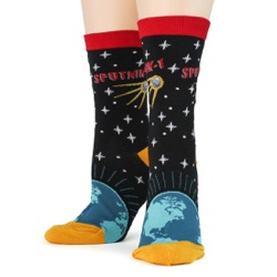 women's sputnik orbiting earth socks front view on mannequin