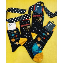 women's sputnik orbiting earth socks