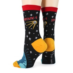 women's sputnik orbiting earth socks sideback view on mannequin