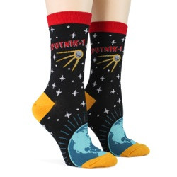 women's sputnik orbiting earth socks sidefront view on mannequin