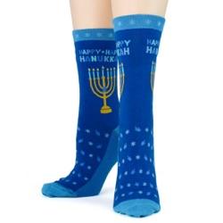 women's hanukkah socks front view on mannequin