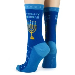 women's hanukkah socks sideback view on mannequin
