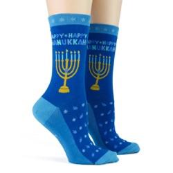women's hanukkah socks sidefront view on mannequin