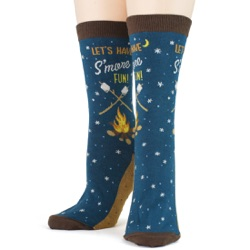 women's s'mores socks front view on mannequin