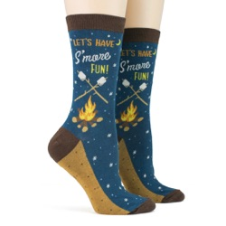women's s'mores socks sidefront view on mannequin