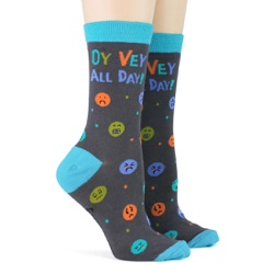 women's oy vey all day socks sidefront view on mannequin