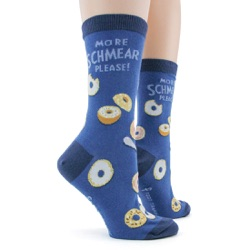 women's schmear and bagels socks sidefront view on mannequin