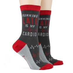 women's running late is my cardio funny socks sidefront view on mannequin