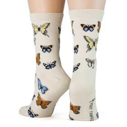 women's butterflies socks back view on mannequin
